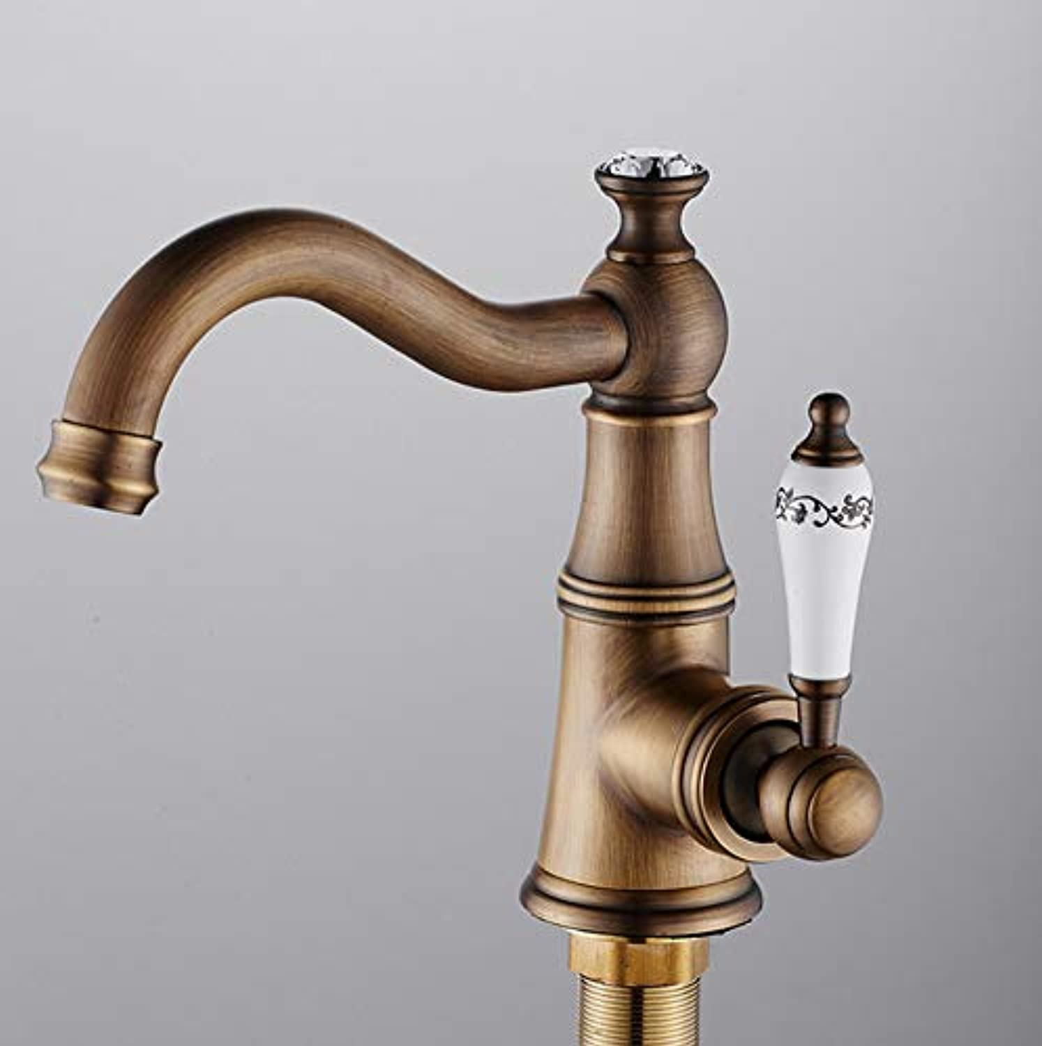 Xiujie Faucet European Antique Bathroom Basin Faucet Single Hole Hot and Cold Water 360° redating Faucet