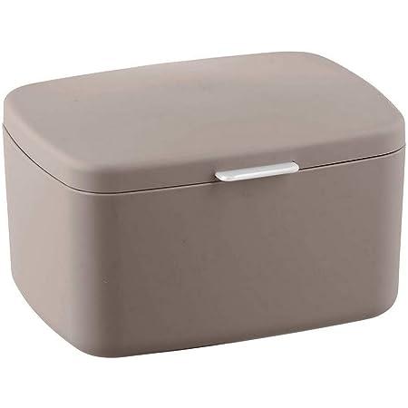 WENKO Boîte avec couvercle Barcelona taupe - Panier de rangement, panier de salle de bain avec couvercle, absolument incassable, Plastique (TPE), 19.5 x 11 x 16 cm, Taupe