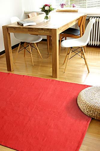 Moderner Baumwoll Teppich Living rot 80x150cm - waschbarer Webteppich aus 100{813306c09e2e096a85968dc502ce6097251c53a0c0f0765bd69ba99fb3f7fb30} Baumwolle