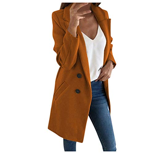 Lulupi Wintermantel Damen Lange Jacke Blazer Tweed Zweireiher Longblazer PEA Coat Trenchcoat Wollmantel Warme Winterjacke Outwear