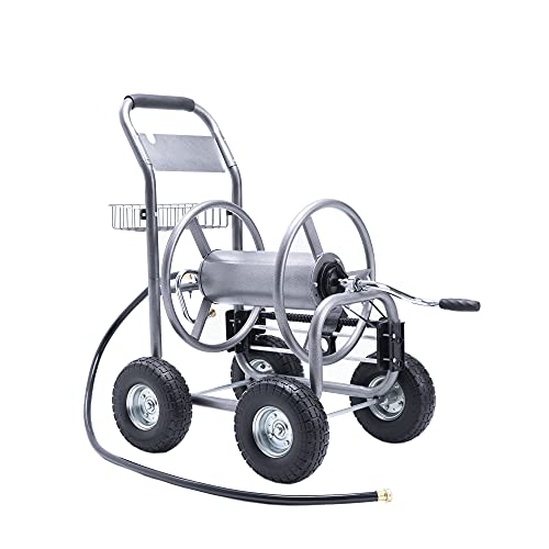 """Giraffe Tools Industrial Hose Reel Cart, Heavy Duty Hose Reel with 4 Solid Wheels, Slide Hose Guide System, Holds 250-Feet of 5/8"""" Hose Capacity for Garden & Yard"""