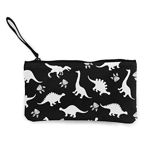 BHGYT Cute Dinosaur Canvas Coin Monedero, Bolsa de Maquillaje, Bolso para teléfono móvil con asa, Monedero de Embrague con Billetera Unisex, 4.7 'X 8.7'