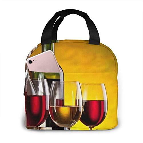 N\A Uvas Botellas de Vino y Bebidas Bolsas de Almuerzo Impresas Fiambrera aislada para Adultos para Mujeres Adultos Trabajo Universitario Picnic Senderismo Playa Pesca Bolsos de Mano Reutilizables