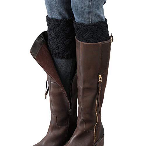 LADES DIRERCT Damen Stulpen Socken - Winter Kurze Stricken Stulpen Gestrickte Beinwärmer Leg Warmers Socken Stiefel Boot Abdeckung(Schwarz)
