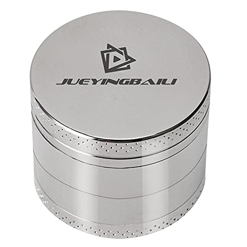 JUEYINGBAILI Herb Grinder, 4 Piece 2 Inch Grinder, Portable Spice Crusher, Silver Manual Grinder with Powerful Magnetic Lid