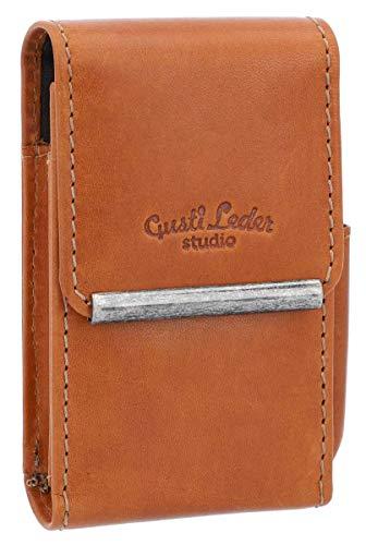 Estuche para Cigarrillos de Cuero Gusti Leder Gage Funda Box de Cigarrillos Cuero de Búfalo Marrón Claro 2T26-22-5