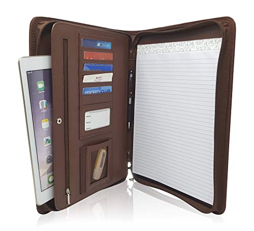 Zippered Leather Business Portfolio Padfolio