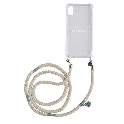 studioNOOKS - Juego de cadena de algodón para teléfono móvil - iPhone X/XS - de algodón suave con bordados hechos a mano para colgar, funda para teléfono móvil, funda para teléfono móvil.