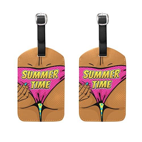 Chic Houses Sexy Beautiful Woman Travel Luggage Tags Swimsuit Pink Summer Creative Romantic Personality Suitcase Bag Tags Carry-On ID Tags with Black Strap 2031121