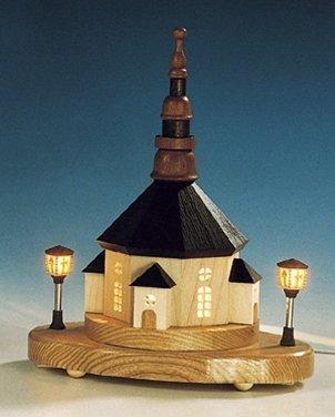 Rudolphs schatkist sokkel Seiffener kerk - elektrische lantaarns en binnenverlichting - hout - kerstdecoratie - hoogte 23 cm - handwerk uit het Ertsgebergte