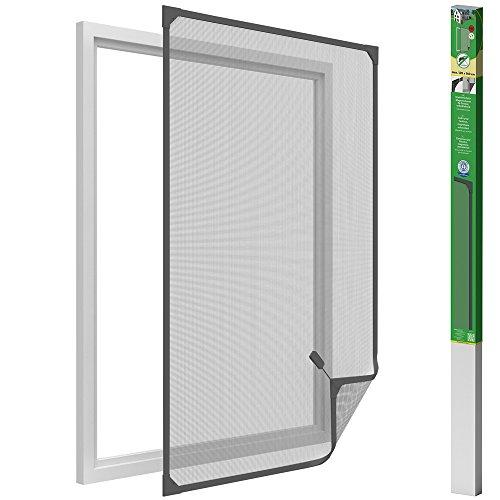 easy life Mosquitera para ventanas con cuadro magnético en PVC fácil de instalar - Sin necesidad de perforar y acortable individualmente, Color:Antracita, Talla:120 x 140 cm