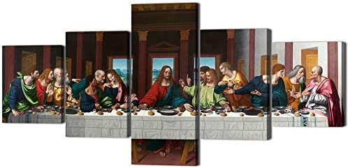 The Last Supper Painting on Canvas Wall Pictures for Living Room 5 Pieces Last Supper Wall Art product image
