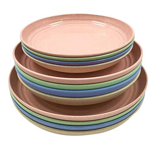 Mungowu Juego de 12 Platos de Paja de Trigo, Platos de Cena, Plato de Cena, para Ensalada, Pasta, Bistec, Fruta (6.8 Pulgadas, 7.8 Pulgadas, 8.8 Pulgadas)