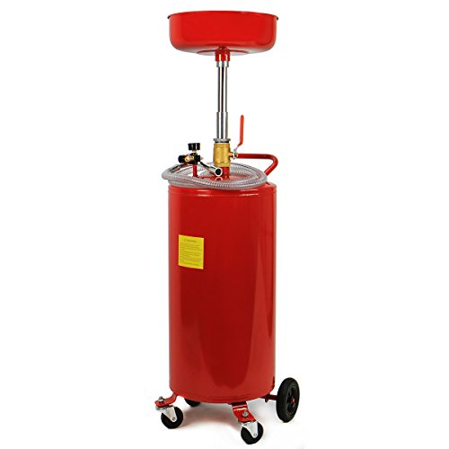 XtremepowerUS 20 Gallon Portable Waste Oil Drain Tank Air Operated Drainage Adjustable Funnel Height with Wheel, Red