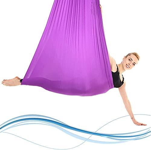 WXking Home - Juego de hamaca aérea de yoga, juego de entrenamiento de trapecio de yoga, mayor flexibilidad y equilibrio mejorado, 2,8 m de diseño ampliado de 5 m de longitud, azul (color: púrpura)