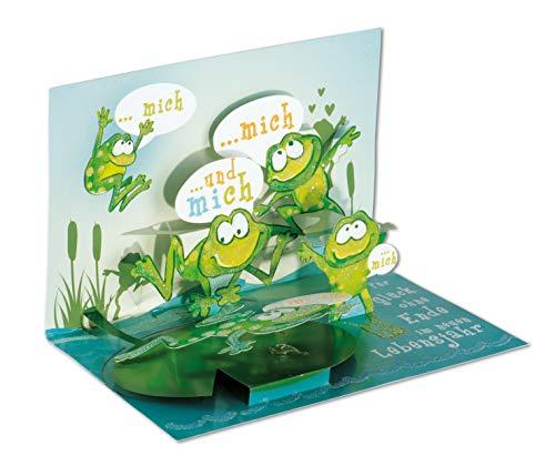 3D Pop – UP Karte Geburtstag, Frosch, Geburtstagskarte 3D, POP - UP Karten, POP UP Karten Geburtstag, Geburtstagskarte lustig, Motiv: Frosch