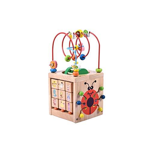 SXZHSM-Intellectuele ontwikkeling speelgoed Ronde Kralen Treasure Box Kinderspeelgoed Grote 1-3 Jaar Oude Baby Puzzel Beaded Houten Multifunctionele Tetrahedral Gift, 15x15x32cm
