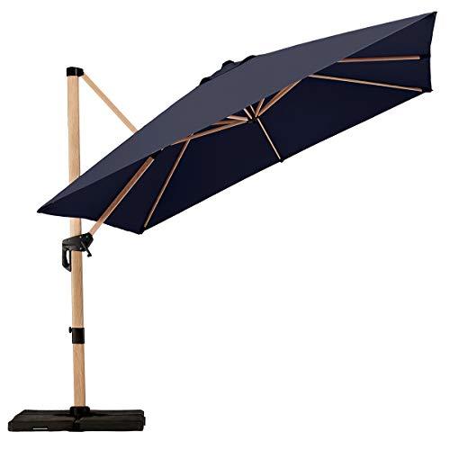 PAPAJET 10 Feet Offset Cantilever Patio Umbrella Square Deluxe Aluminum Wood Pattern Outdoor Hanging Umbrella with Cross Base, 360° Rotated, Easy Tilt Garden Umbrella (Navy Blue)
