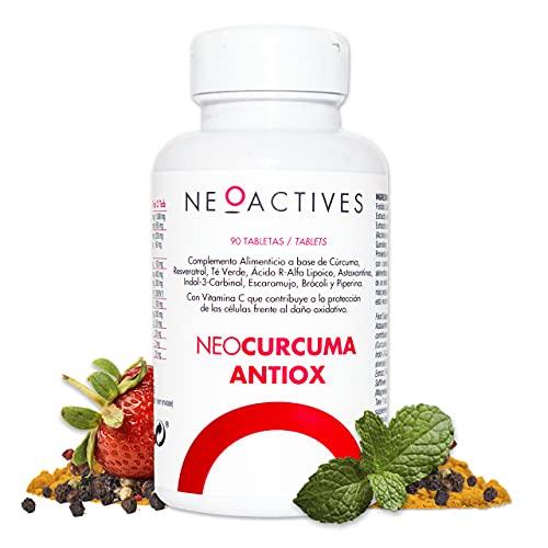 NeoCurcuma Antiox | Complemento Alimenticio de Cúrcuma y Más Ingredientes Naturales Suplemento Vegano | Contribuye al Normal funcionamiento del sistema inmunitario y del sistema nervioso (90 cápsulas)