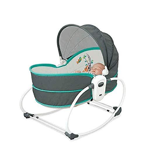 WCJ 5 in 1 Wieg van de baby Swing, Portable Pasgeboren Zweefvliegen met afneembaar Canopy Music Toys Vibration, Rocking Infant Crib slaapstoel for Travel (Color : Green)
