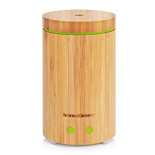 InnoGear Bambus Duftöldiffusor, Ultraschall Aromatherapie Luftbefeuchter mit 4 Arbeitsmodus, 2 Timing-Einstellungen und Einstellbare Nebel, Wasserlos Auto Abschalt