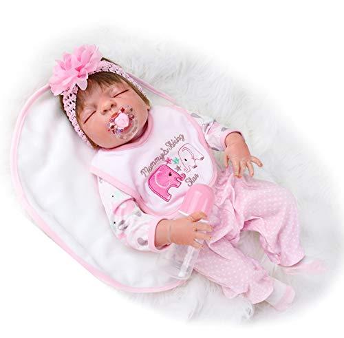 ZIYIUI 23 Pollici 57cm Bambola Reborn Femmina Silicone per Tutto Il Corpo Bambole Reborn Ragazze Impermeabile Bocca Magnetica Regali di Natale Reboern Toddler Dolls Girls Giocattolo