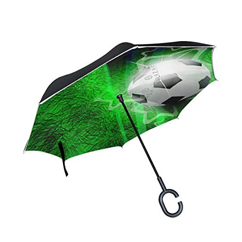 Umkehrbarer Regenschirm, Moderner Fußball-Regenschirm, Regenschirm mit UV-Schutz, umgewandelter Regenschirm mit C-förmigem Griff