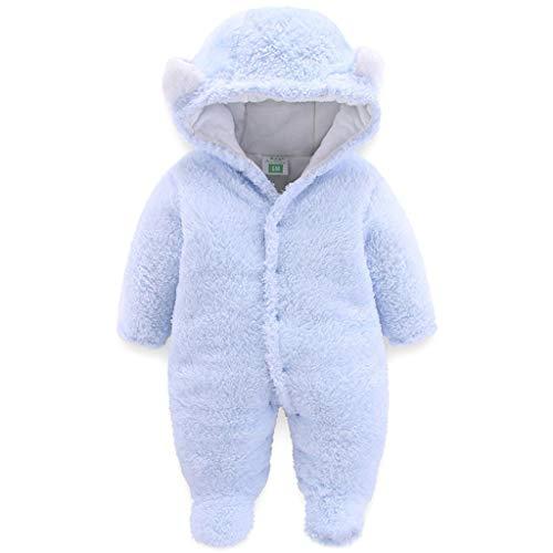 JiAmy JiAmy Baby Winter Fleece Overall Mit Kapuze Mädchen Jungen Schneeanzüge Warm Strampler Outfits Blau 3-6 Monate