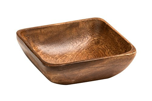 Premier Housewares Small Dark Brown Wooden Fruit Bowl Salad Bowl Serving Bowl Large Bowl Bamboo Fruit Bowl Salad Bowl & Servers 5 cm x 15 cm x 15 cm