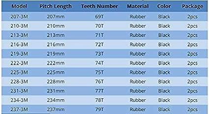 NO LOGO L-TAO-Pulley 1pc HTD 3M Timing Belt Longueur De 252mm /à 282mm Largeur 15 mm 16 mm en Caoutchouc HTD3M synchrone 252-3M 282-3M Boucle ferm/ée Couleur : 3M 252, Taille : 15mm