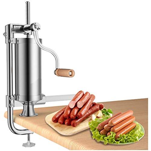 HXCSSK2 Embutidoras De Salchicha 3L Vertical Salchicha Salchicha Máquina embutidora de Acero Inoxidable con 4 Tubos de llenado y el Manual Crank Molinos de Carne