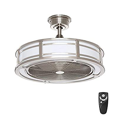 Home Decorators Collection Brette II 23 in. LED Indoor/Outdoor Brushed Nickel Ceiling Fan with Light and Remote Control