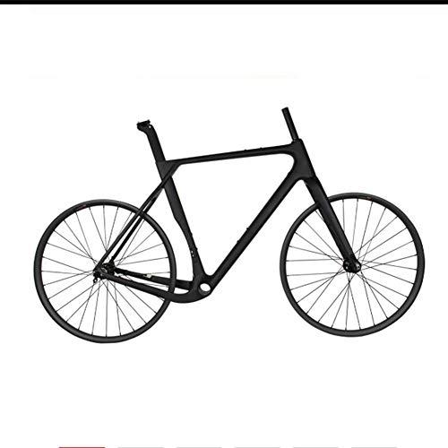 YAMEIJIA Vollcarbon Rennrad Cyclocross Gravel Bike Rahmenset & 27.5er MTB Laufradsatz Novatec D791SB / 792SB Naben 142 * 12mm Steckachse,56cmMatte