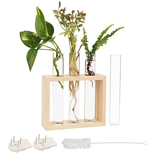 Plantador tubos ensayo colgar pared - 3 + 1 tubos vidrio (17.2x2.5cm) con soporte madera y cepillo limpieza - Florero sobremesa moderno flores propagar plantas hidropónicas, decoración oficina hogar