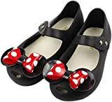 iFANS Girls Sweet Dot Bow Princess Sandals Shoes Mary Jane Flats for Toddler/Little Kid Black, 9 Narrow Toddler