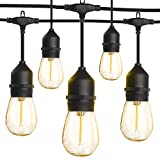 LED Outdoor String Lights 48FT with 2W Dimmable Edison Vintage Shatterproof Bulbs and Commercial Grade Weatherproof,ETL Listed Heavy-Duty Decorative LED Patio String Lights for Wedding,Gathering
