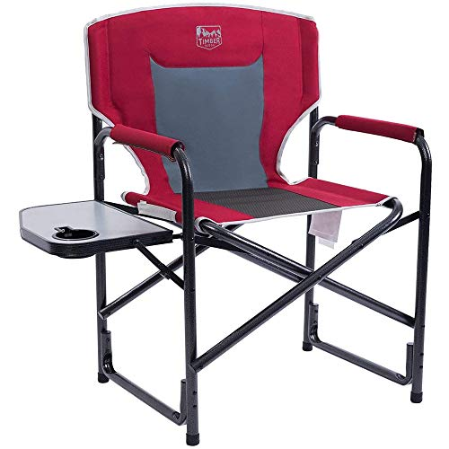 Timber Ridge Directors Chair with Side Table Aluminum Frame Portable Lightweight Folding Camp Chair for Outdoor Camping, Patio, Lawn, Garden, Support 300lbs