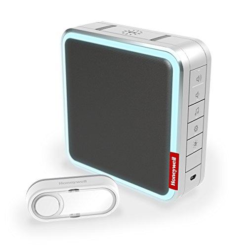 Honeywell Home MP3-Funk-Gong-Set, bis zu 20 MP3-Melodien aufspielbar, mit Reichweitenverstärker und Klingeltaster, silber/ grau, DC917SG