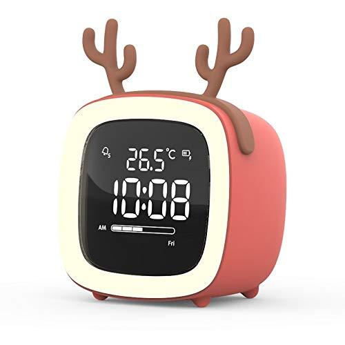 Guo Hengbo Feld Creative Heißer Student Mini Wecker, Smart Home, Snooze Nachtlicht, Schlafzimmer warmes Licht[Coral Orange] + Ladeleitung + Geweih Ohren 1,6 W
