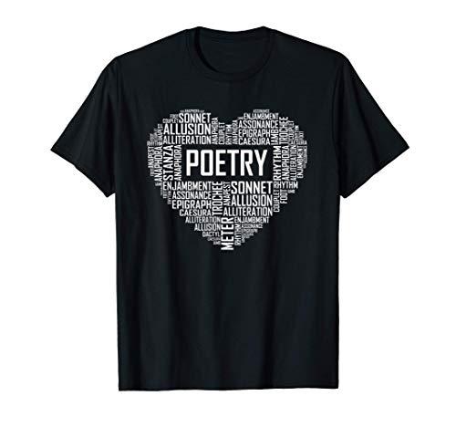 Poesía Amante del corazón Regalo Poeta Escritor de poemas Camiseta