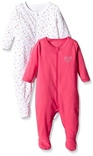 NAME IT Baby-Mädchen NITNIGHTSUIT ZIP W/F NB G NOOS Schlafstrampler, Mehrfarbig (Rouge Red), 62...