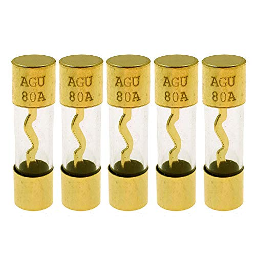 Yoiilnz(Pack of 5 Pcs) AGU 80A Gold Standard Glass Fuses 80Amp Car Stereo Fuses