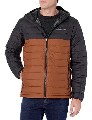 Columbia Men's Powder Lite Hooded Jacket, Dark Amber/Black, Large