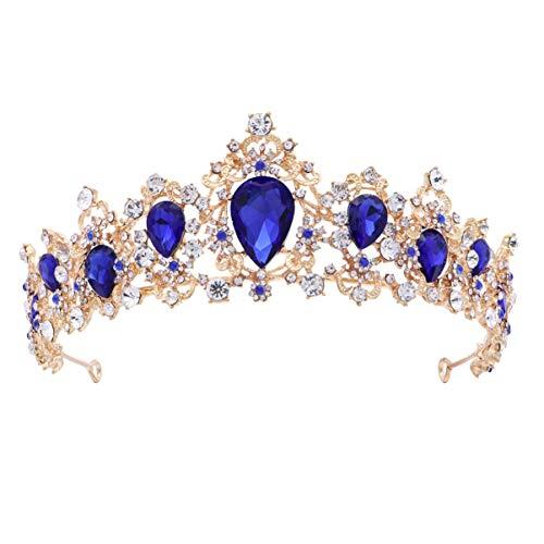 FRCOLOR Diadema Nuziale Corona Corona Barocco Regina Corona Principessa Copricapo Diadema Copricapo di Cristallo Diadema per Festa di Nozze Cosplay (Blu)