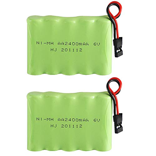 2pcs 2400mAh 6V NiMH Receiver RX Battery with Hitec Connectors High Capacity Rechargeable AA Battery Pack for Receiver RC Airplanes Aircrafts and More Remote Controlled Toys
