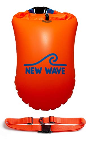 New Wave Swim Buoy - Swim Safety Float with Drybag for Open Water Swimmers Triathletes Kayakers Snorkelers, Open Water Swim Buoy Float for Safer Swim Training (PVC 20 Liter Orange)