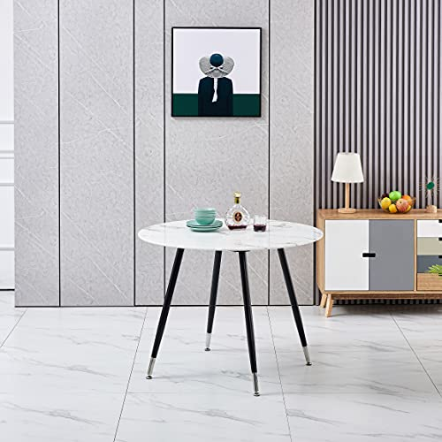 FURNIZONE UK Glass Dining Table Marble Effect 100 cm Round with Chrome Tipped Black Metal Legs