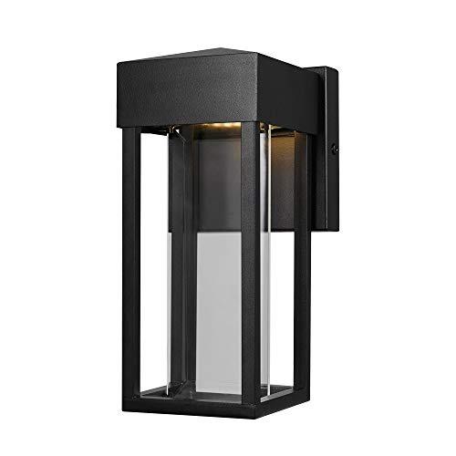 Globe Electric Bowie LED Lámpara de pared para interior y exterior, color negro mate, inserto de vidrio transparente, 10 W, 420 lúmenes 44246