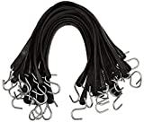 kitchentoolz Rubber Bungee Cord with Hooks 25 Pack of 21 Inch Rubber Tarp Straps. (32' Max Stretch) - Heavy Duty Natural Rubber Bungee Straps