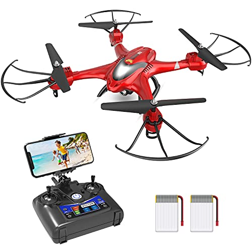 Holy Stone HS200 FPV Drone with Camera 720P HD Live Video for Adults & Kids RC Wifi Quadcopter with Voice/App Control, Altitude Hold, 3D Flip, One Key Function, 2 Batteries, Easy to Fly for Beginners